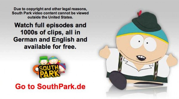 This is what you get, when visiting southparkstudios.com from a german computer.